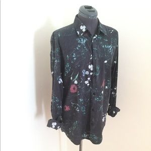 H&M Slim Fit Floral Button Down Shirt, Sz L